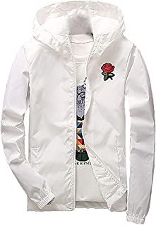 Men's Rose Floral Windbreaker Hooded Jacket Lightweight Casual Full Zip Flower Coat