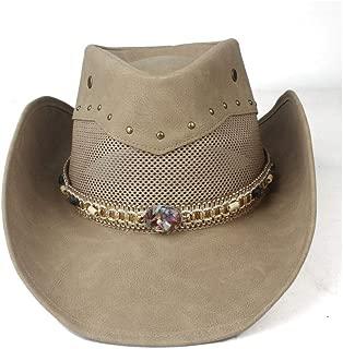 Hats  and Caps Feather Western Cowboy Hat for Women Men with Roll Up Brim Punk Belt Jazz Sombrero Cap Dad Hat Size 58-59CM (Color : Khaki, Size : 58-59cm)