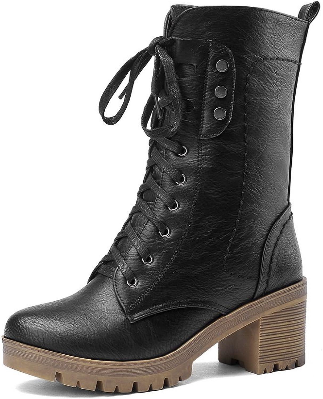 1TO9 Womens Platform Chunky Heels Platform Imitated Leather Boots