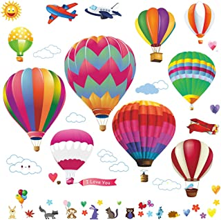 Lemostaar Hot Air Balloons Wall Decals Stickers: Pre-Cut Decorative Vinyl Peel and Stick Classroom Decorations Wall Art Mural for Children's Bedroom, Baby Nursery and Playroom