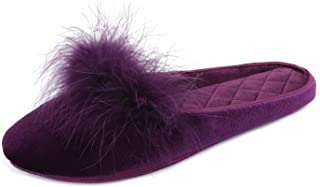 BCSTUDIO Women's Shiny Velour Furry Feather Memory Foam House Slippers with Non Slip Rubber Sole