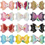 Unicorn Hair Bows Clips for Girls Sequins Glitter Hairpins Unicorn Party Gift School Hair Accessories (12pcs-Glitter bows with Unicorn Clip)