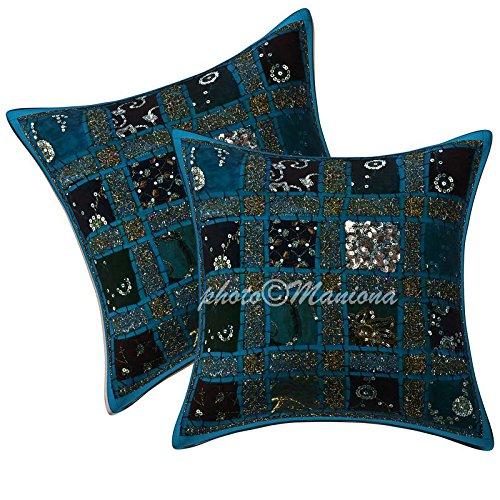 ManionaCrafts Housse de coussin ethnique à sequins indiens - Motif patchwork géométrique brodé à la main - Turquoise