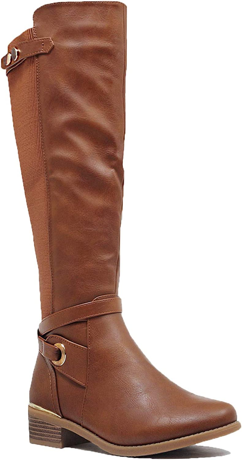 Guilty Heart - Womens Triple Buckle Faux Leather Riding Knee High Boot