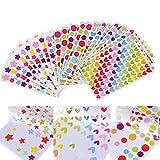 54 fogli Adesivi Etichette Adesive Cuore Stelle Colorati Masking Tape Sticker Decorazioni Scrapbooking...