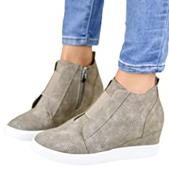 f0730997a8f47 Slip on platform mid heels sneakers - Casual Women's Shoes
