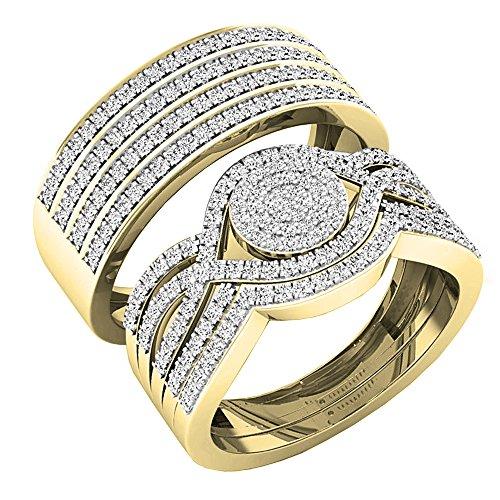 Anillo de compromiso de 0,86 quilates (quilates) con diamantes blancos redondos de...