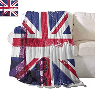 SONGDAYONE Indoor and Outdoor Blankets Union Jack Soft to The Touch Grungy Aged UK Flag Big Ben Double Decker Country Culture Historical Landmark W70 x L84 Multicolor