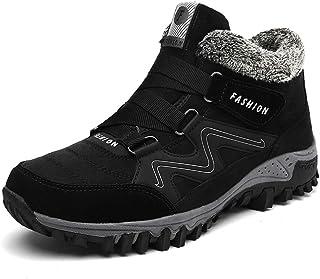 SHOULIEER en Cuir Hommes Bottes Hiver avec Fourrure 2020 Bottes de Neige Chaudes Hommes Hiver Travail Chaussures décontrac...