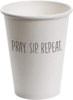 Creative Brands Disposable/Recyclable White Paper Cups, 10-pack, Pray Sip Repeat