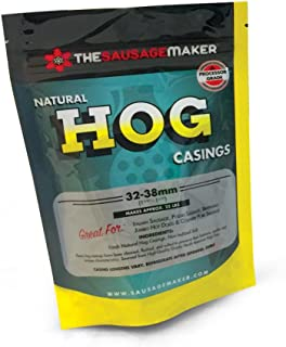 "The Sausage Maker - North American Natural Hog Casings for Home Sausage Making, Make 25 lbs. of Standard Italian, Polish and Bratwurst at about ~1.5"" Stuffed Diameter Links"
