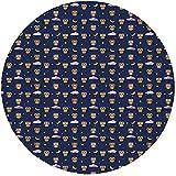 W-WEE Alfombra Redonda Alfombra, búhos, pájaros de Dibujos Animados en Elementos del Cielo Nocturno Estrellas y Lunas crecientes Nubes púrpuras Hora de acostarse, Multicoloroom