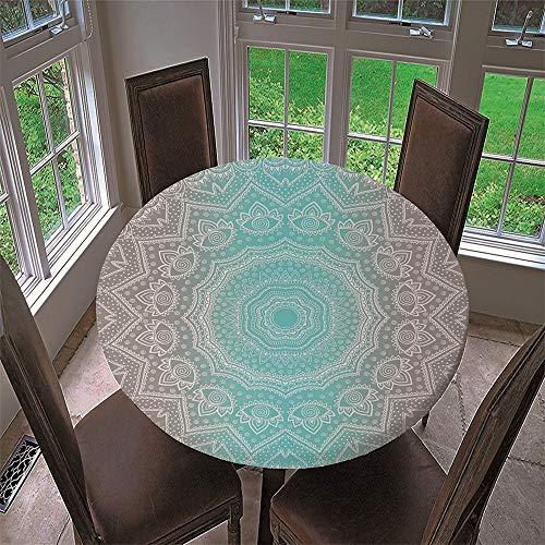 Chickwin Mantel Redondo Impermeable Antimanchas con Estampado Tótem Mandala 3D, Mantel de Mesa con Diseño de Borde Elástico para Comedor, Fiestas, Cocina y Picni (Verde Claro,120cm)