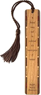 Ralph Waldo Emerson Engraved Quote About Friendship Wooden Bookmark with Tassel - Personalized Version Also Available - Search B071J1L58