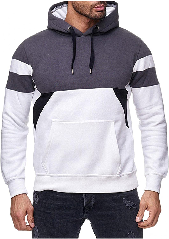 Mens Hoodies Drawstring Pocket Men's Patchwork Color Block Long Sleeve Athletic Hooded Sweatshirt Pullover Tops Sweaters