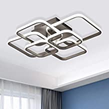 Jaycomey LED Ceiling Light, Modern Ceiling Lighting Fixtures, 6 Squares 87W Flush Mount Acrylic Ceiling Lamp Coffee LED Ch...