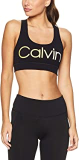 Calvin Klein Performance Ombre Logo Racerback Medium-Impact Sports Bra Yellow XS