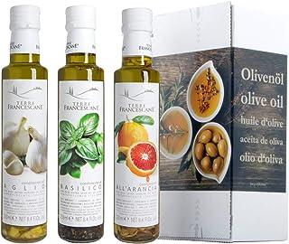 3er Probier-Paket Terre Francescane - Extra Natives Olivenöl Dressing mit Orangen, Basilikum und Knoblauch 3 x 250 ml