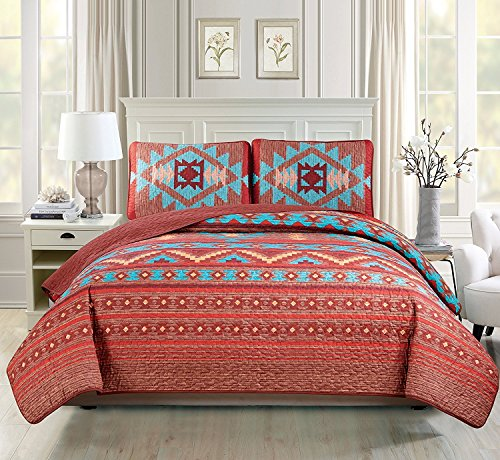 Rustic Western Southwestern Native American Indian Tribal Navajo Quilted Bedspread Set in Turquoise Red Burgundy Orange and Brown – Austin Brown (Full/Queen)