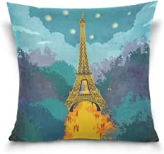 """MASSIKOA France Paris Eiffel Tower Decorative Throw Pillow Case Square Cushion Cover 16"""" x 16"""" for Couch, Bed, Sofa or Pat..."""