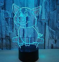 Cartoon Varken SFALHX 3D Illusion Lamp, Controller Nachtlampje met Afstandsbediening Touch 16 Kleur Veranderende Bureaulam...