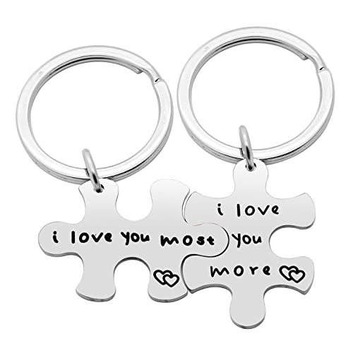 2pcs Couple Key Chain Ring Set Puzzles