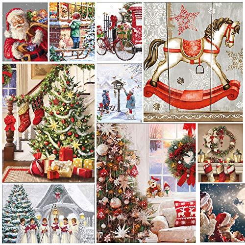 50 servilletas de Decoupage navideñas, tradición y nostalgia, paquete de 50 servilletas de papel, 2 de cada diseño mostrado. Manualidades, decoupage, tarjetas, periódicos basureros