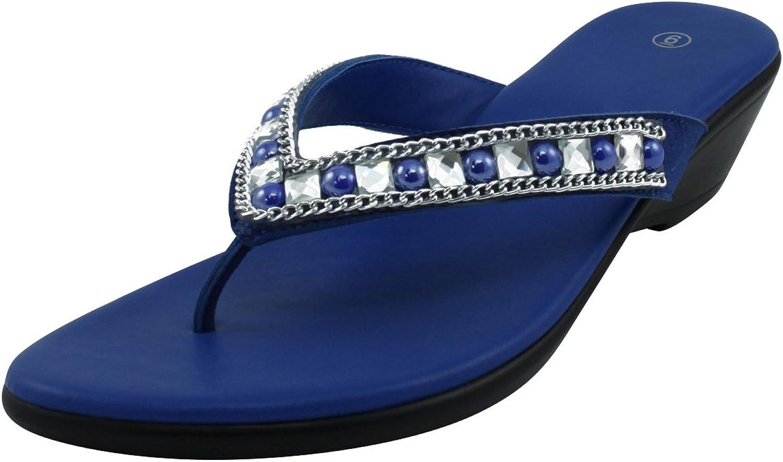 Cambridge Select Women's Slip-On Studded Crystal Rhinestone Bead Chain Thong Flip-Flop Mid Wedge Sandal