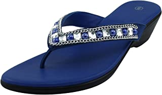 Women's Slip-On Studded Crystal Rhinestone Bead Chain Thong Flip-Flop Mid Wedge Sandal