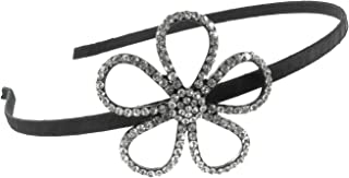 Five Petal Daisy Outline Rhinestone Fabric Wrapped Headband with Clear Crystals