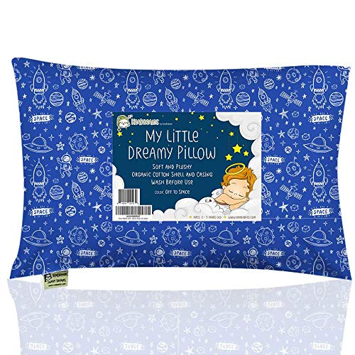 Toddler Pillow with Pillowcase - 13X18 Soft Organic Cotton Baby Pillows for Sleeping - Machine Washable - Toddlers, Kids, Infant - Perfect for Travel, Toddler Cot, Bed Set (Off to Space)