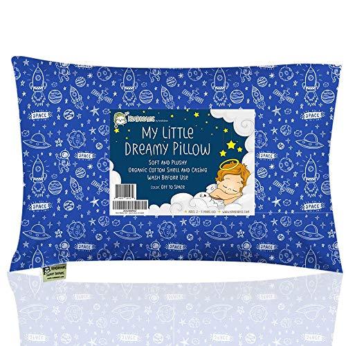 Almohada para niños con Funda - Almohada para bebés de algodón orgánico Suave 13x18 para Dormir - Lavable e Respirable - Niños, bebés y recién Nacidos Viajar (Off to Space)