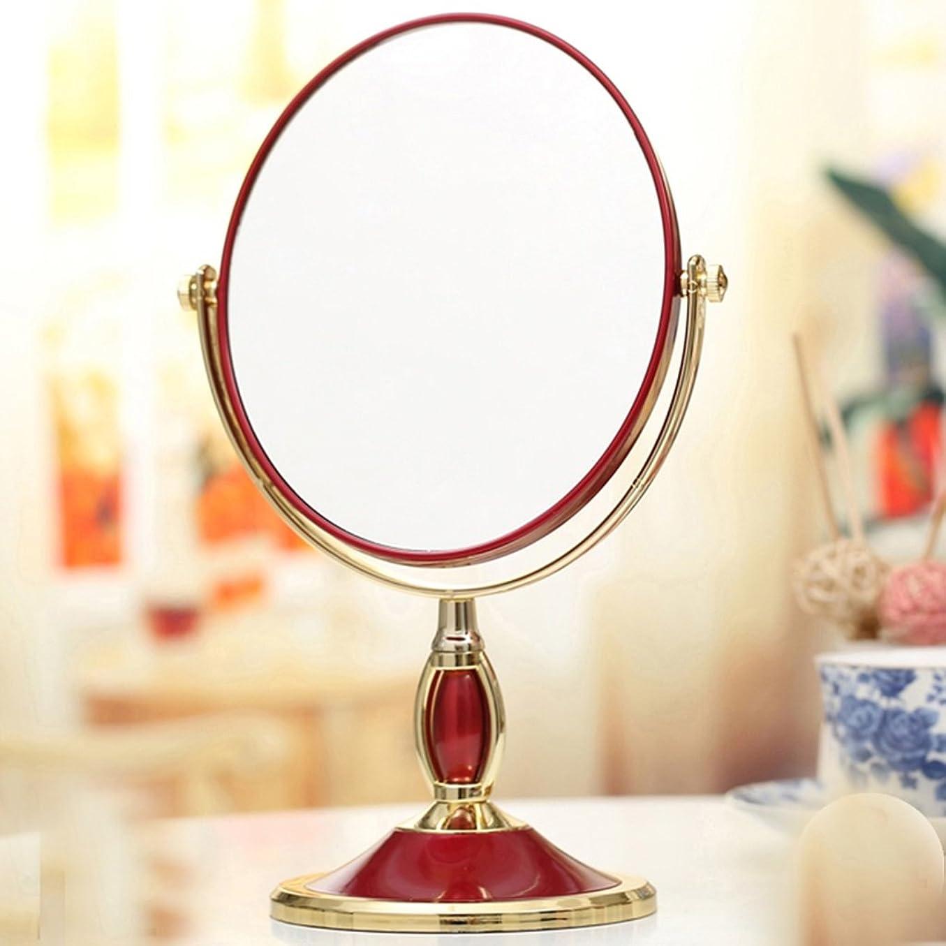 定義する並外れて達成DNSJB デスクトップ化粧鏡ヨーロッパミラーミラーポータブル結婚プリンセスミラーの3倍の高精細拡大鏡テーブルミラードレッシング両面 (Color : Wine Red)