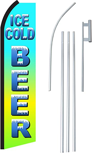 NEOPlex Ice Cold Beer Complete Flag Kit Includes 12 Swooper Feather Business Flag With 15 Foot Anodized Aluminum Flagpole AND Ground Spike