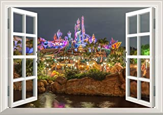 絵画風 壁紙ポスター (はがせるシール式) -窓の景色- ディズニーシーの夜景 ディズニーリゾート 【窓仕様/トリックアート】 キャラクロ DNS-003MA1 (A1版 830mm×585mm) 建築用壁紙+耐候性塗料
