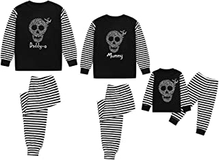 2PCs Family Matching Halloween Costume Bat Skull Pajamas Sleepwear Nightwear Top and Pant Sets