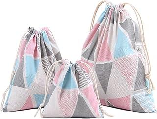 1 pi/èces Sac de Rangement /à Cordon Maison et Voyage Organisateurs Bagage Pliable Portable Pochette Sachet Cadeau en Coton Lin Doitsa