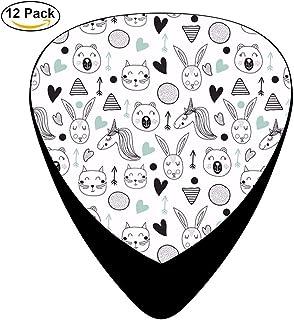 Lindo gato de dibujos animados de celuloide guitarra eléctrica Selecciones 12-pack
