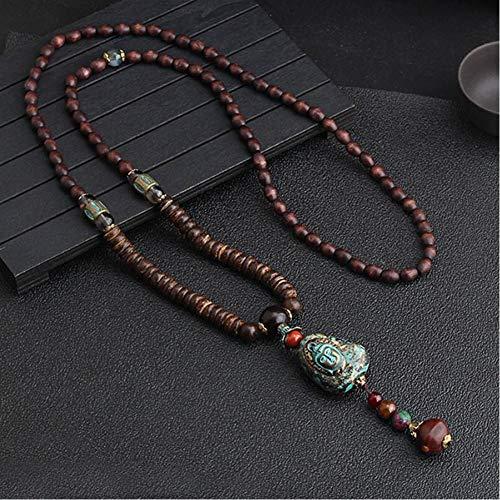 CXKEB Gioielli Nepal Fatti a Mano Collana Buddista con Perle di Legno di Mala Collana Bodhi Buddha Etnico Collana Lunga per Donna Uomo
