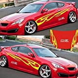 RONSHIN 3D Flamme Totem Aufkleber Auto Aufkleber Full Body Car Styling Vinyl Aufkleber Aufkleber für Autos Dekoration Gelb