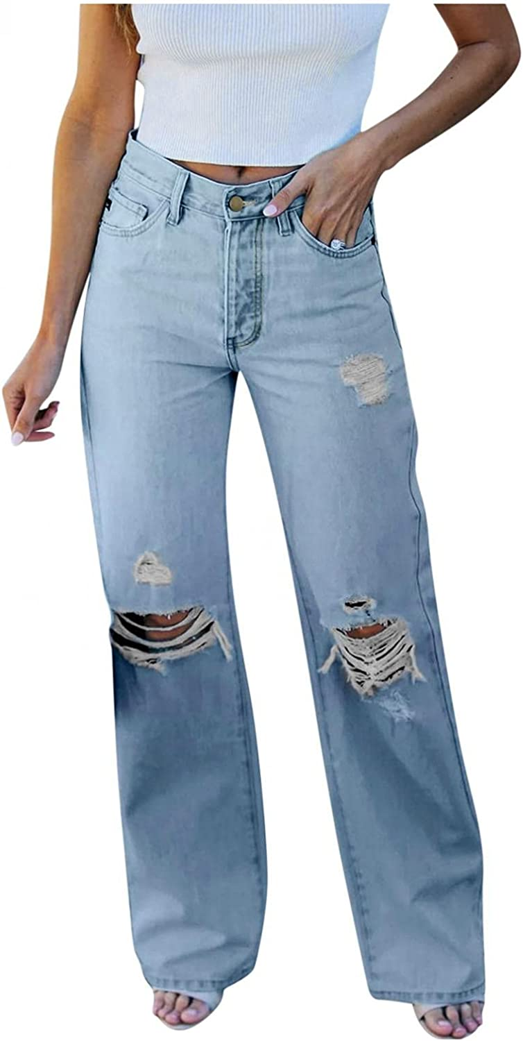 High Waisted Jeans for Women Y2K Fashion Baggy Denim Pants with Hole Loose Wide Leg Straight Jeans Vintage Streetwear