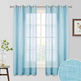RYB HOME Semi Sheer Curtains for Living Room, Wall Panels Backdrop for Home Decor, Filter Sunlight Glare Sliding Grommet Sheer Drapes for Bedroom, W 52 x L 63 inch Length, 2 Pcs, Baby Blue