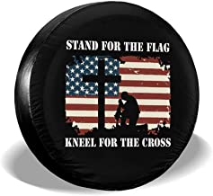 ULNL Stand for The Flag, Kneel for The Cross Spare Wheel Tire Cover Funny Waterproof Tire Protectors Novelty