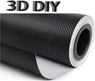3Dカーボンシート ブラックカーボンファイバービニール 自動車ラップフィルムDIY インテリアステッカー 耐熱耐水曲面対応裏溝付 カッティングシート内装パネルからボンネット、ルーフ 伸縮裏溝付 (30cm X200cm)
