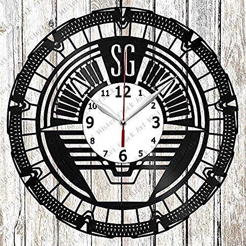 AIYOUBU Vinyl-Uhr - Vinyl-Wanduhr - Stargate - Handgefertigte Originelle Geschenk - Custom Design - Personalisierte Schallplatte Wanduhr - Einzigartige Art Home Decor-Without_LED