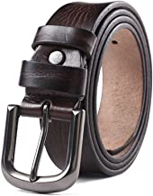 Fashion Belt Dress Belt with Rotated Buckle Casual Vintage Leather Belt for Men Durable (Color : Brownish red, Size : 120cm)