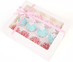 akiero 15pack Cupcake Boxes Hold 12, Food Grade Cupcake Containers, Ivory Cupcake Carrier, Cookies Muffins Pastries Packin...