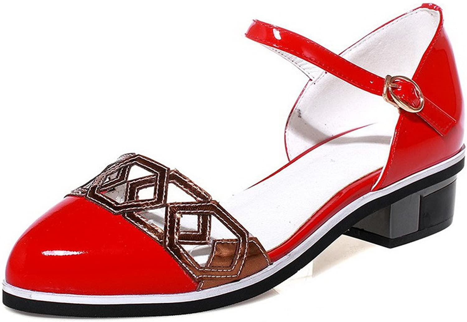 AmoonyFashion Women's Soft Material Buckle Closed Toe Low-Heels Assorted color Sandals
