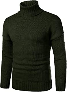 CRYYU Men Knit Slim Turtleneck Heavy-Weight Solid Color Pullover Sweater