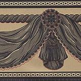 Dundee Deco BD3213A Vorhänge zum Abziehen und Aufkleben, Tapeten Bordüre 10 m x 10 cm, senfgelb, Tapetenbordüre Retro-Design, selbstklebend